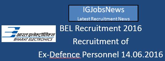 BEL Recruitment Notification May June 2016