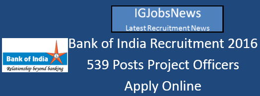 Bank of India BOI Recruitment Notification May June 2016