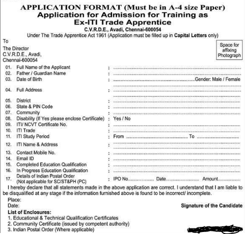 CVRDE Ex-ITI Apprentice Application Format 2016-17