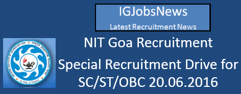 NIT GOA SRD for SC_ST_OBC Assistant Professor vacancies