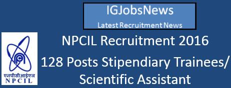 NPCIL Recruitment ITI Trainees May 2016