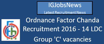 OF Chanda Recruitment Notification May June 2016
