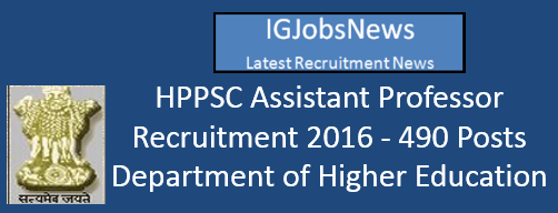 HPPSC Assistant Professor Recruitment 2016