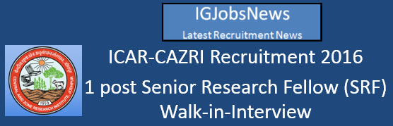 ICAR-CAZRI Recruitment Notification June 2016
