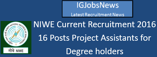 NIWE Current Recruitment 2016 June July