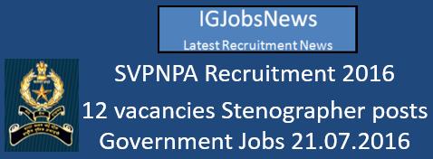 SVPNPA Recruitment 2016 Advertisement