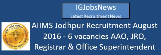 AIIMS Jodhpur Recruitment August 2016