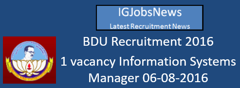 BDU Recruitment 2016