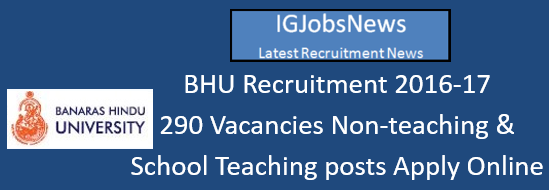 BHU Recruitment July August 2016 Advertisement