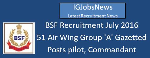 BSF Recruitment July 2016
