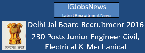 Delhi Jal Board Recruitment 2016