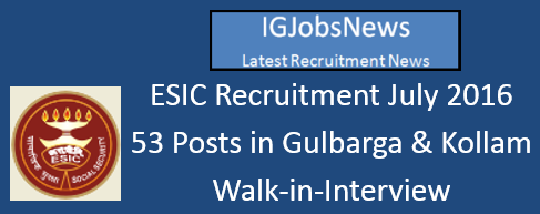 ESIC Recruitment July 2016