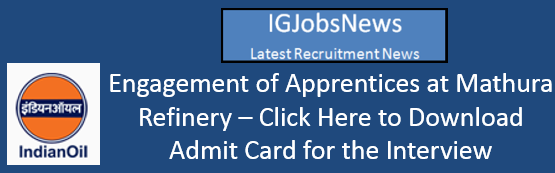 Engagement of Apprentices at Mathura Refinery Admit Card
