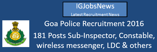 Goa Police Recruitment 2016