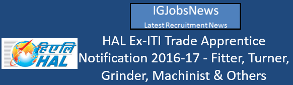 HAL Ex-ITI Trade Apprentice Notification 2016-17