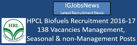 HPCL Biofuels Recruitment 2016-17