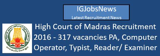 High Court of Madras Recruitment 2016