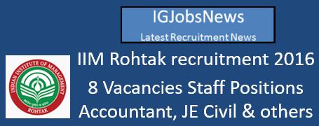 IIM Rohtak Recruitment 2016