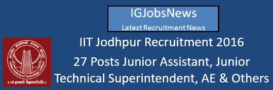 IIT Jodhpur Recruitment 2016