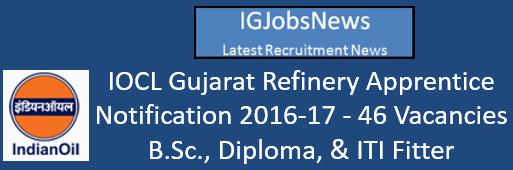 IOCL Gujarat Refinery Apprentice Recruitment 2016 Notification