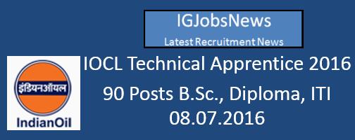 IOCL Technical Apprentice 2016