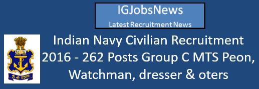 Indian Navy Civilian Recruitment 2016