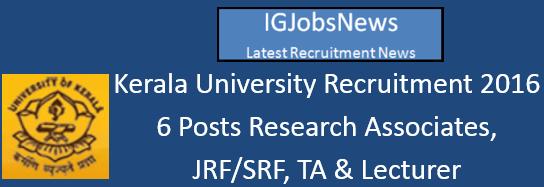 Kerala University Recruitment 2016