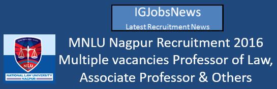 MNLU Nagpur Recruitment 2016_ Faculty Recruitment Advertisement