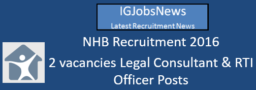 NHB Recruitment 2016