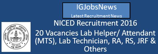 NICED Recruitment 2016