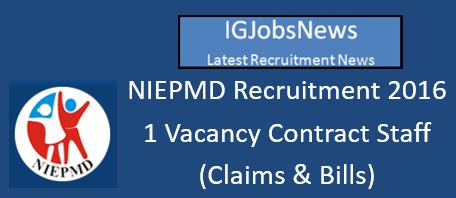 NIEPMD Recruitment 2016 Advertisement