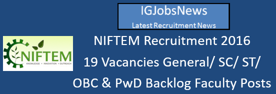 NIFTEM Recruitment 2016