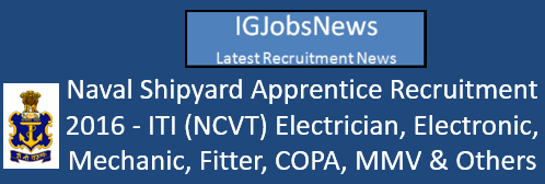 Naval Shipyard Apprentice Recruitment 2016