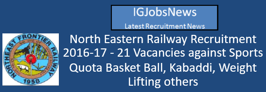 North Eastern Railway Recruitment 2016-17 Sports Quota