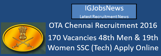 OTA Chennai Recruitment 2016