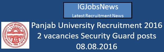 Punjab Univrsity Recruitment 2016