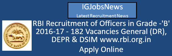 RBI Recruitment of Officers in Grade -'B' 2016-17