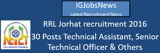 RRL Jorhat recruitment 2016