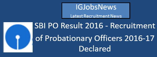 SBI PO Result 2016 Declared