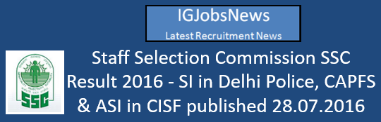 Staff Selection Commission SSC Result 2016