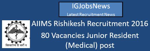 AIIMS Rishikesh Recruitment 2016 Walk in Interview August