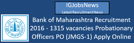 Bank of Maharashtra Recruitment 2016_August