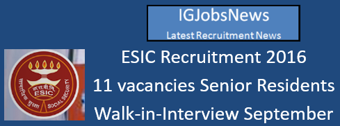 ESIC Recruitment August 2016_s