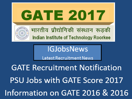 GATE 2017 Jobs Recruitment Notification