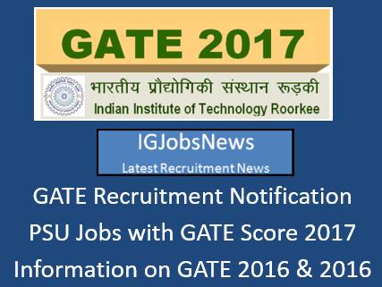 GATE 2017 Jobs Recruitment Notification