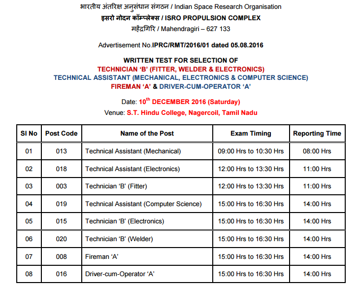 Written Test for Selection to various posts at IPRC, Mahendragiri vide Advertisement No.IPRC/RMT/2016/01 dated 05.08.2016 is scheduled to be conducted on 10.12.2016 (Saturday).