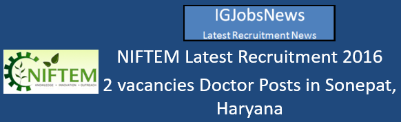 NIFTEM Recruitment_August 2016