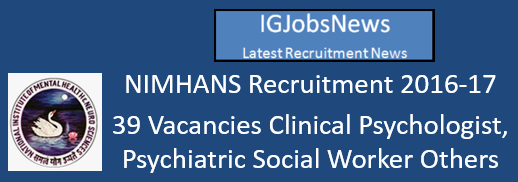 NIMHANS Recruitment 2016-17