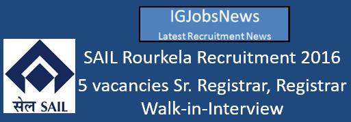 SAIL Rourkela Recruitment 2016