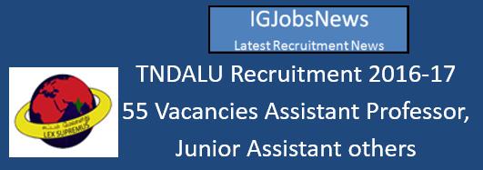 TNDALU Recruitment August 2016
